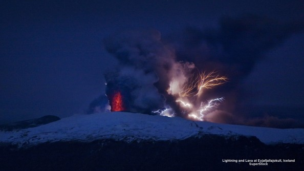 Lightning and Lava at Eyjafjallajokull, Iceland